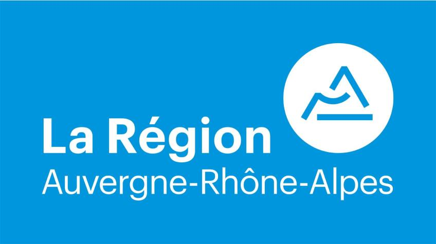 Logo of the rhone alpes region with a blue background