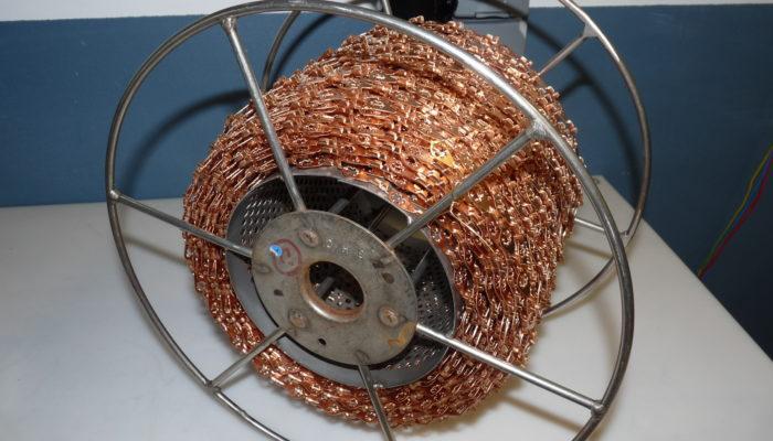 Bobines de chaines métallique en cuivre