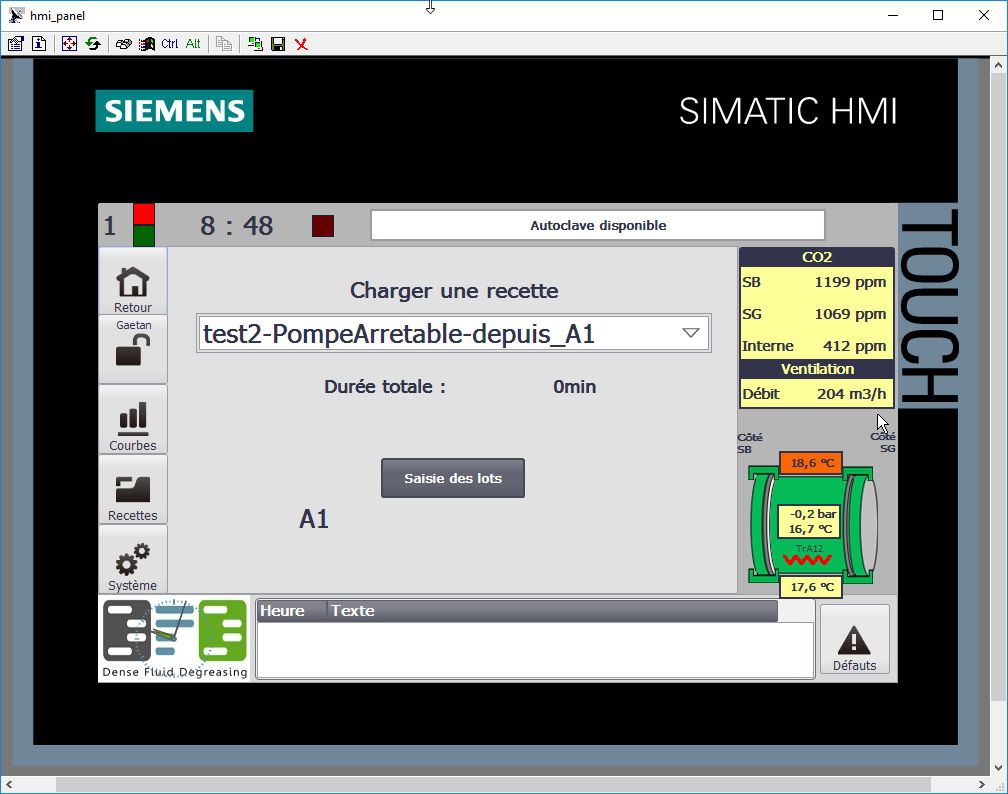 Control panel with Siemens PLC for on-site and remote control of the machine